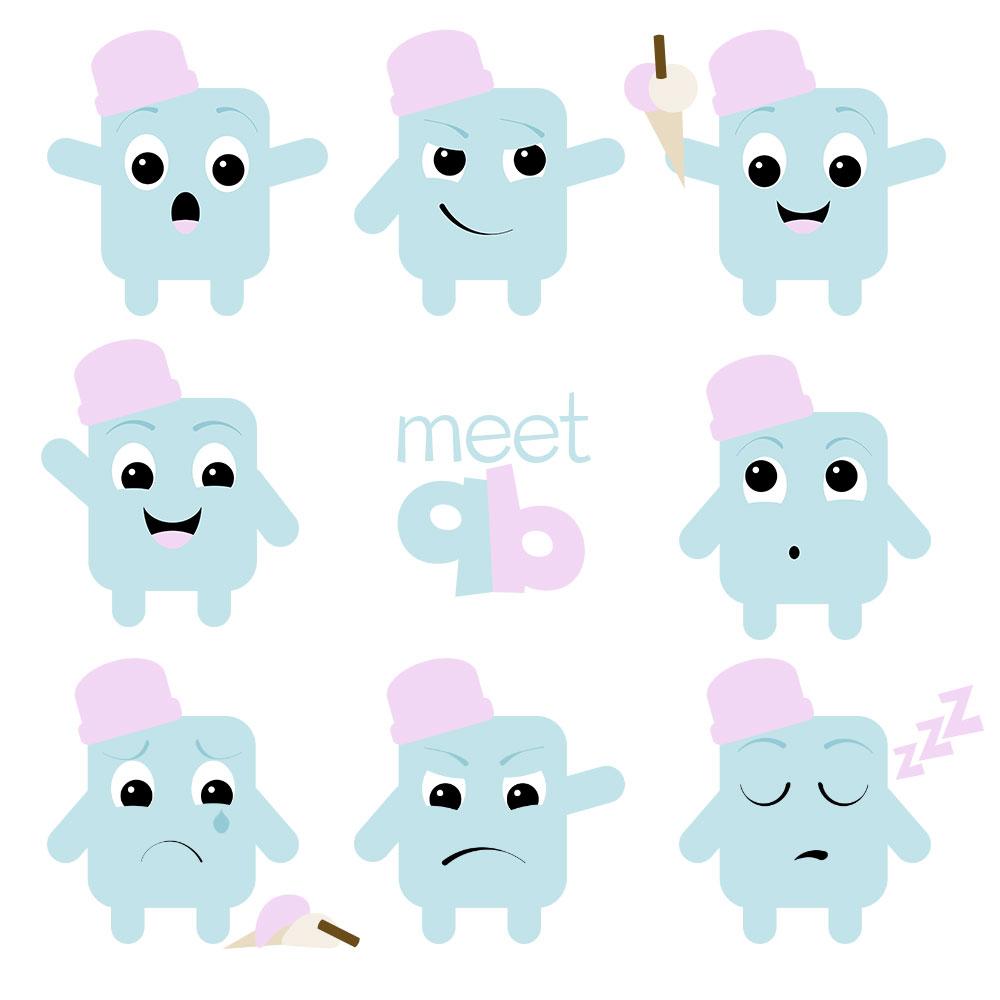 Meet Q-B a simple 2D geometric yuru-kyara (mascot)