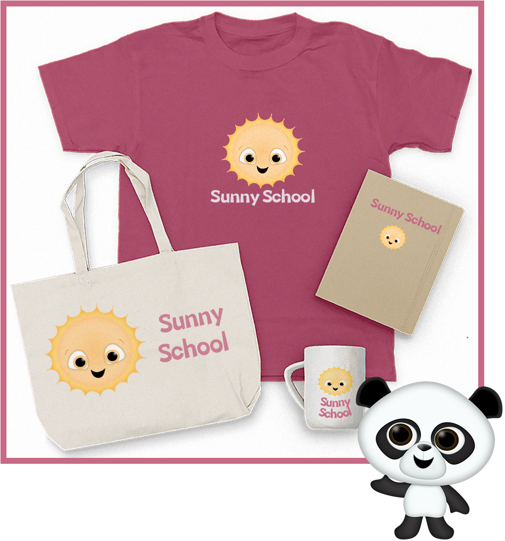 Flat Lay showing t-shirt, tote bag, notebook, and mug with a mascot on.